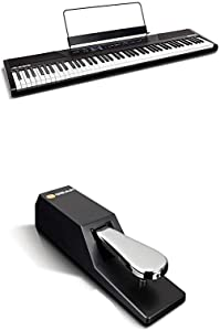 Digital Piano Bundle - Electric Keyboard with 88 Semi Weighted Keys, Built-In Speakers, 5 Voices and Sustain Pedal – Alesis Recital and M-Audio SP-2