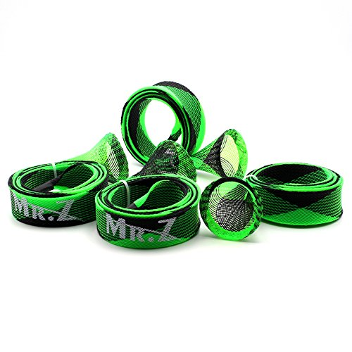 Mr. Z Pack of 4 Casting Fishing Rod Sleeve Fishing Rod Cover Pole Jacket Protective Rod Socks (Green and Black) Rod Sleeve