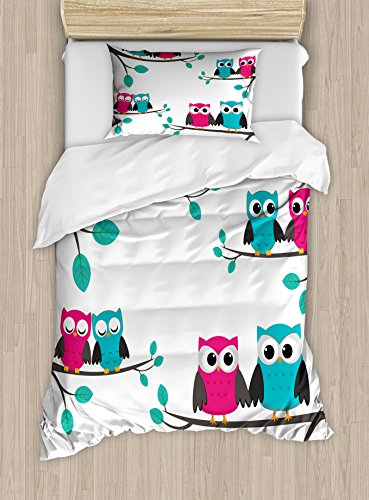 Ambesonne Nursery Duvet Cover Set Twin Size, Couples of Owls Sitting on Spring Branches Cute Funny Cartoon Characters, Decorative 2 Piece Bedding Set with 1 Pillow Sham, Turquoise Blue Pink -