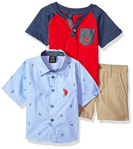 U.S. Polo Assn. Baby Boys Sleeve, T-Shirt and Short Set, Anchors Red Pocket Tee Multi Plaid, -