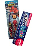 Ultimate Spiderman Toothbrush, Protective Toothbrush Cap, and Aim Bubble-Berry Kids Toothpaste, Bundle of 3 Items
