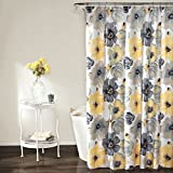 Blue and Yellow Shower Curtain Lush Decor Leah Shower Curtain, 72 Inches X 72 Inches, Yellow/Gray