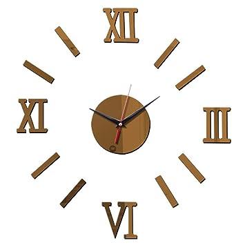HomeClock Acrílico Reloj de Pared de Salón Relojes de números Romanos clásicos, hazlo tú Mismo Creativo Reloj de Pared: Amazon.es: Hogar