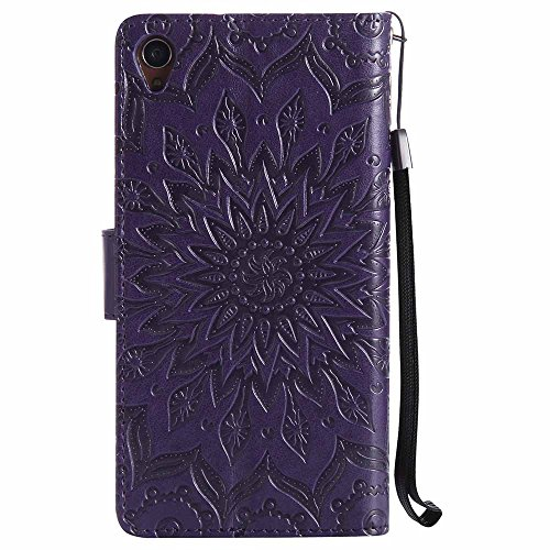 Flip Z3 Wallet Cover Slot Brown Case Z3 Mandala Dfly Soft Sony Function Xperia Kickstand Embossed Purple with Protective Holder Xperia Premium Slim for Design Card Leather PU qTRxHSnwR6
