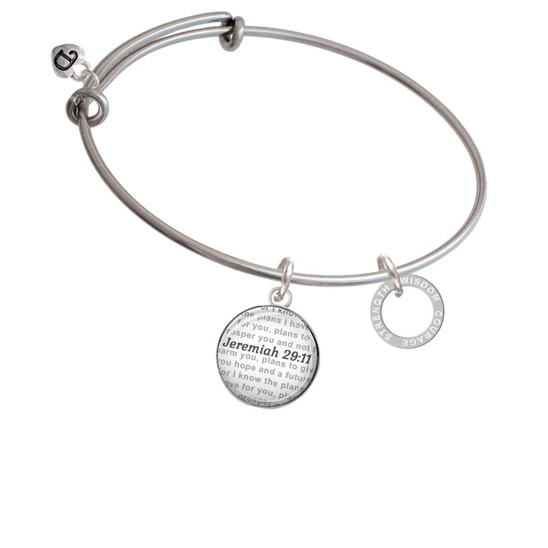 Bible Verse Jeremiah 29:11 Glass Dome Bangle Bracelet Silvertone Courage Strength Wisdom Infinity Ring