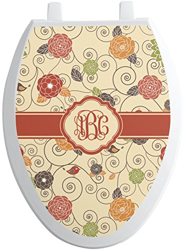 Elong Toilet Seat - RNK Shops Fall Flowers Toilet Seat Decal - Elongated (Personalized)