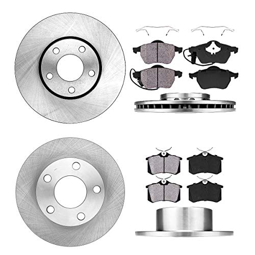 FRONT 288 mm + REAR 245 mm Premium OE 5 Lug [4] Rotors + [8] Quiet Low Dust Ceramic Brake Pads + Hardware
