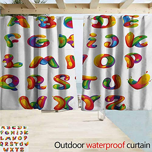 AndyTours Rod Pocket Top Blackout Curtains/Drapes,Educational Artistic Design of Alphabet Letters Brushstrokes Paint Splashes Creative Style,Room Darkening, Noise Reducing,W55x45L Inches,Multicolor