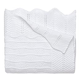 Elegant Baby 100% Cotton, Fancy Knit Blanket with Wide Ribbed Border 30 x 40 Inch in White