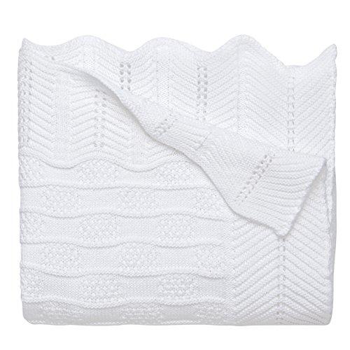 Elegant Baby Premium 100% Cotton Knit Blanket, White Texture Knit, 30