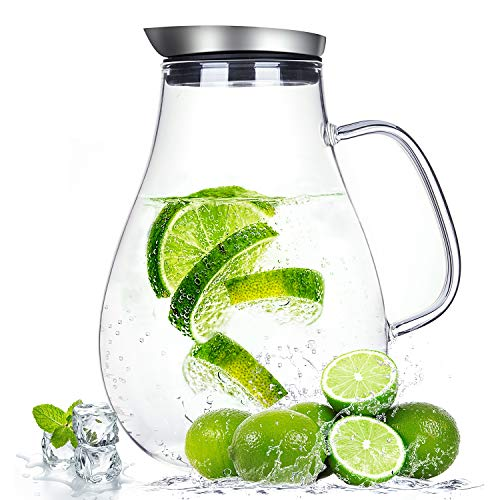 2.0 Liter Glass Pitcher with Lid, Water Carafe Jug for Hot/Cold Water, Ice Tea and Juice Beverage by susteas (Image #7)