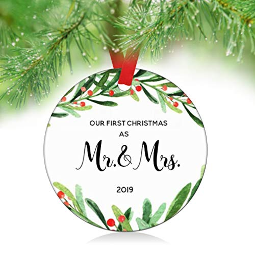 ZUNON 2019 Our First Christmas as Mr & Mrs Couple Married Wedding Decoration 3