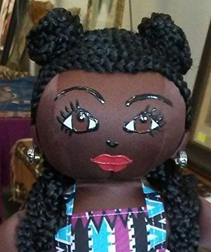 African American Doll 14 inch Doll Hand Painted Handcrafted Black Doll African Inspired Multicultural Doll Natural Hair Styles Ethnic Doll Collectible Doll Black Doll Maker
