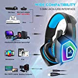 Gaming Headset with Mic, Headphones Stereo Over Ear Bass 3.5mm Microphone Noise Canceling 7 LED Light Soft Memory Earmuffs