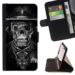 Momo Phone Case / Flip Funda de Cuero Case Cover - Goth oscuro esqueleto cráneo Tuxedo - Apple Iphone 4 / 4S