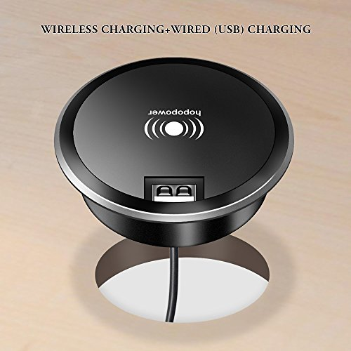 5W Wireless Charger,hopopower Wireless Charging Pad with 1 Port USB Grommet Hole in Desk Charger,Wireless Charger Compatible iPhone X 8 Plus 8 XS XR, Galaxy S9 S8+ S8 & All Qi-Enabled Devices