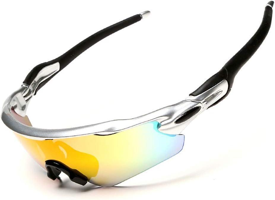 RVTYR Radar EV Gafas de Sol polarizadas, Gafas Ciclismo Deportivo con 5 Lentes Intercambiables for Running Senderismo Pesca Golf Béisbol Gafas Proteccion Color : Sliver(Black)