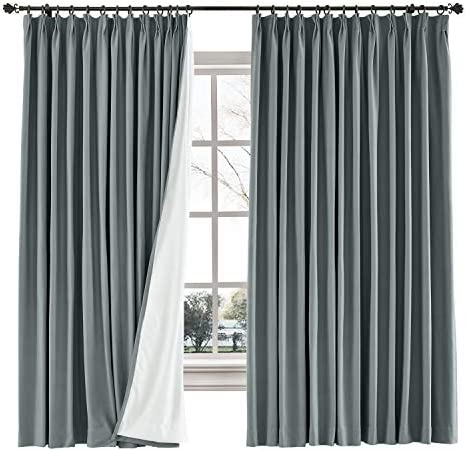 TWOPAGES 100 W x 96 L inch Pinch Pleat Blackout Curtain