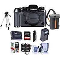 Fujifilm X-T2 Mirrorless Camera Body, Black - Bundle With Camera Bag, 64GB SDHC U3 Card, Spare Battery, Tripod, Compact Charger, Cleaning Kit, Memory Wallet, Card Reader, Software Package