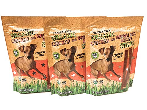 - Trader Joe's Puppy Dog Treats Organic Chicken Brown Rice Recipe Sticks Wheat Free 5 oz, 3 Bags