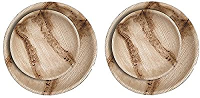 CaterEco Round Palm Leaf Plates Set (24 Pack) | (12) Dinner Plates and (12) Salad Plates | Ecofriendly Disposable Dinnerware | Heavy Duty Biodegradable Party Utensils for Wedding