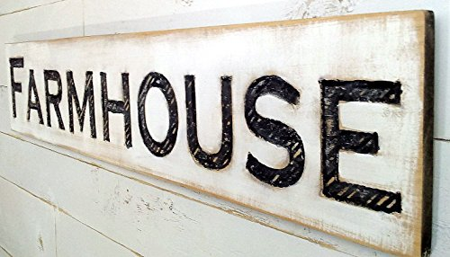 Americana Signs Large Farmhouse Sign 48x10 Carved Horizontal-Cypress Lumber Rustic Wood Distressed Shabby Style Decor
