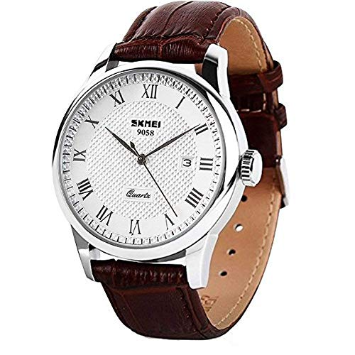 Mens Quartz Watch, Roman Numeral Business Casual Fashion Analog Wrist Watch Classic Calendar Date Window, Waterproof 30M Water Resistant Comfortable PU Leather Watches (Brown)