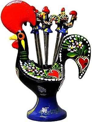 Tradicional portugués gallo de aluminio con 6 tenedores de aperitivo: Amazon.es: Hogar