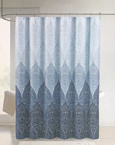 Cynthia Rowley Fabric Shower Curtain Geometric Mosaic Pattern in Shades of Blue - Stamped Ombre, Blue