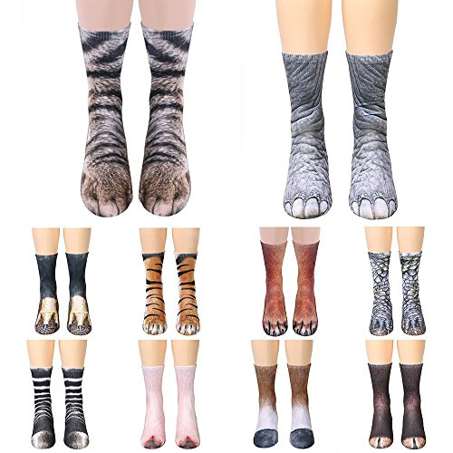 Animal Feet Socks, Alonea Men&Women Crazy Novelty Animal Paw Crew Funny Socks Sublimated 3D Print Socks