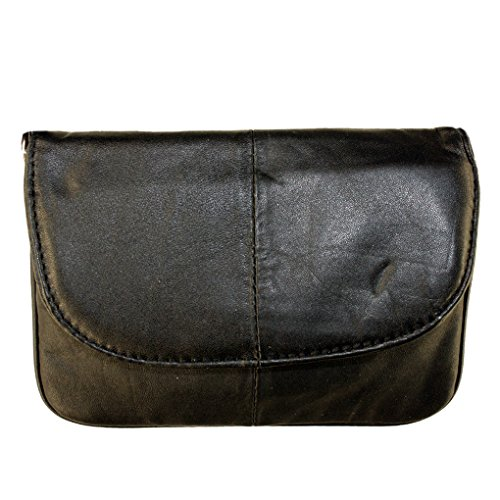 Silver Fever Leather- Small Speedy Crossbody Travel Handbag (Black)