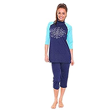 8d6fc336b3 Image Unavailable. Image not available for. Color  KXCFCYS Muslim Swimsuit  Modest Swimsuits Islamic Swimsuits Swimwear Maillot Short Sleeve Women ...
