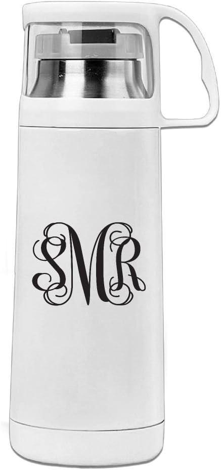 Karen Garden Grey Monogram Stainless Steel Vacuum Insulated Water Bottle Leak Proof Handled Mug White,12oz
