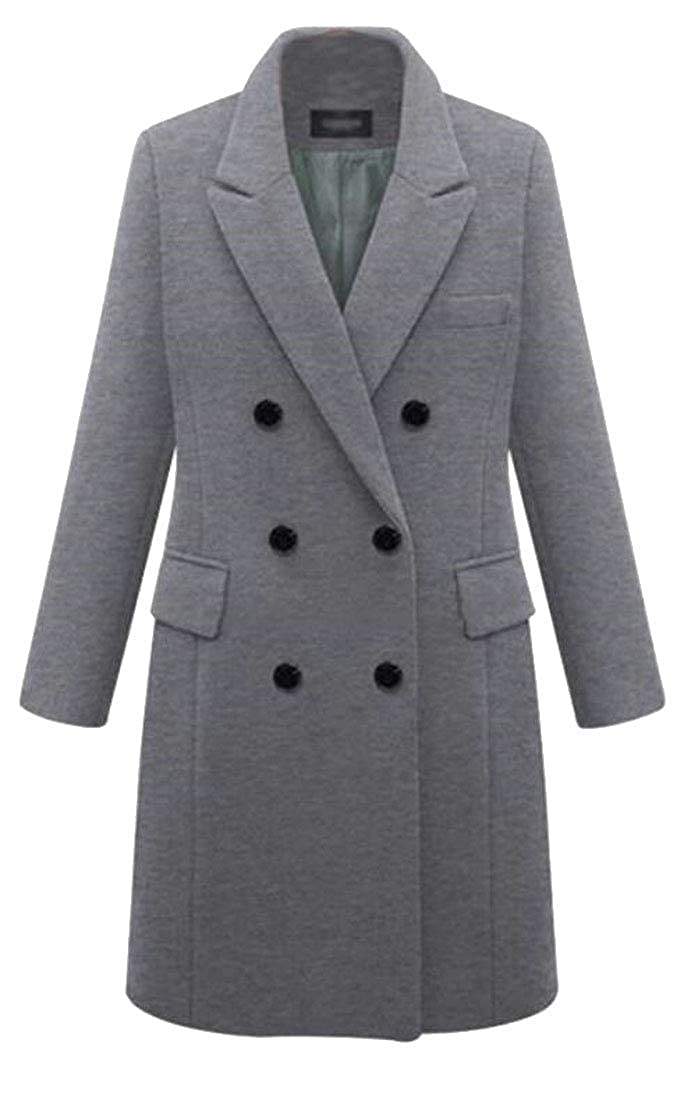 Grey Sanderso Women's Winter Classic Notched Lapel Double Breasted Wool Blend Pea Coat