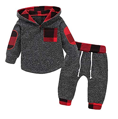 Happy Kido Toddler Baby Boys Girls Stylish Plaid Floral Pocket Hooded Coat,Kids Jackets Stretchy Cloak Tops Clothes (Gray, 6-12 Months)