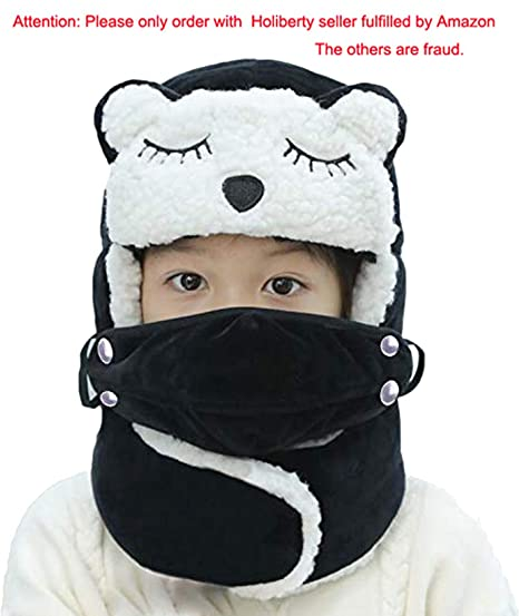 b6288656580a3 Cute Cartoon Winter Trapper Hat for Kids Boys Girls with Faux Fur Ear Flaps  Neck Gaiter
