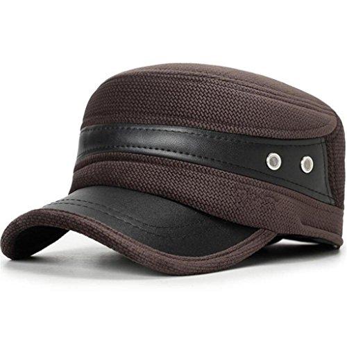 Middle cuero Aged pu Otoño de Brown ZHAS Hombre sombrero Gorro Hat de Invierno Moda Men's xvqd8Pwd0