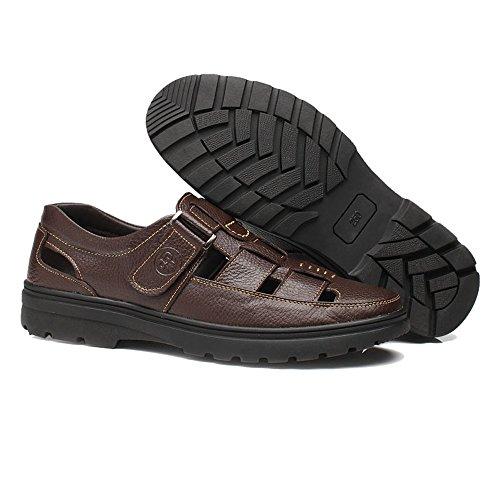 uomo Marrone traspirante vacchetta suola Color da Slip di shoes classiche Taglio Scarpe Xiazhi vera EU Perforazione pelle Dimensione on 42 morbida Marrone con in qFgtx