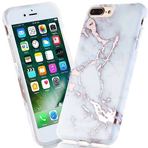 BAISRKE Shiny Rose Gold Light Grey Marble Design Bumper Matte TPU Soft Rubber Silicone Cover Phone Case Compatible with iPhone 7 Plus/iPhone 8 Plus [5.5 inch]