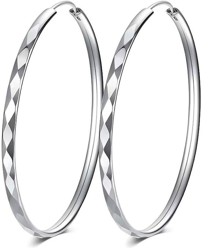925 Sterling Silver Rhodium-plated Diamond-cut Hoop Earrings 3mm x 15mm
