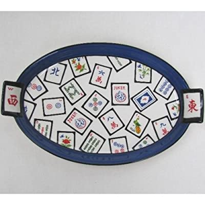 Source for Judaica Ceramic Mah Jongg Large Platter