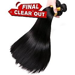CLAROLAIR 100g/pc Peruvian Straight Hair 4 Bundles(10 12 14 16 Inch) Virgin Peruvian Hair Straight Bundles Unprocessed Human Hair Extension Mixed Length 8-26 Inch