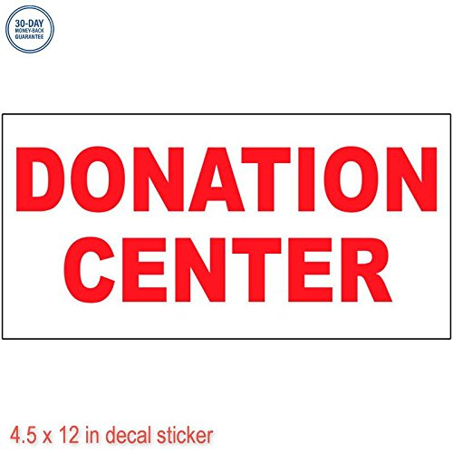 Donation Center Red Label Decal Sticker Retail Store Vinyl Sign   Sticks To Any Clean Surface 4 5 X 12 In