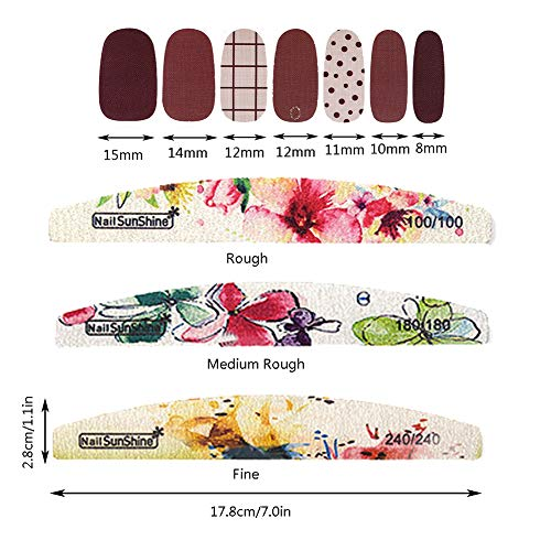 TYLCC 16 Sheets Full Wraps Nail Polish Stickers,Self-Adhesive Nail Art Decals Strips Manicure Kits with 3Pc Nail Buffers Files for Women Girls