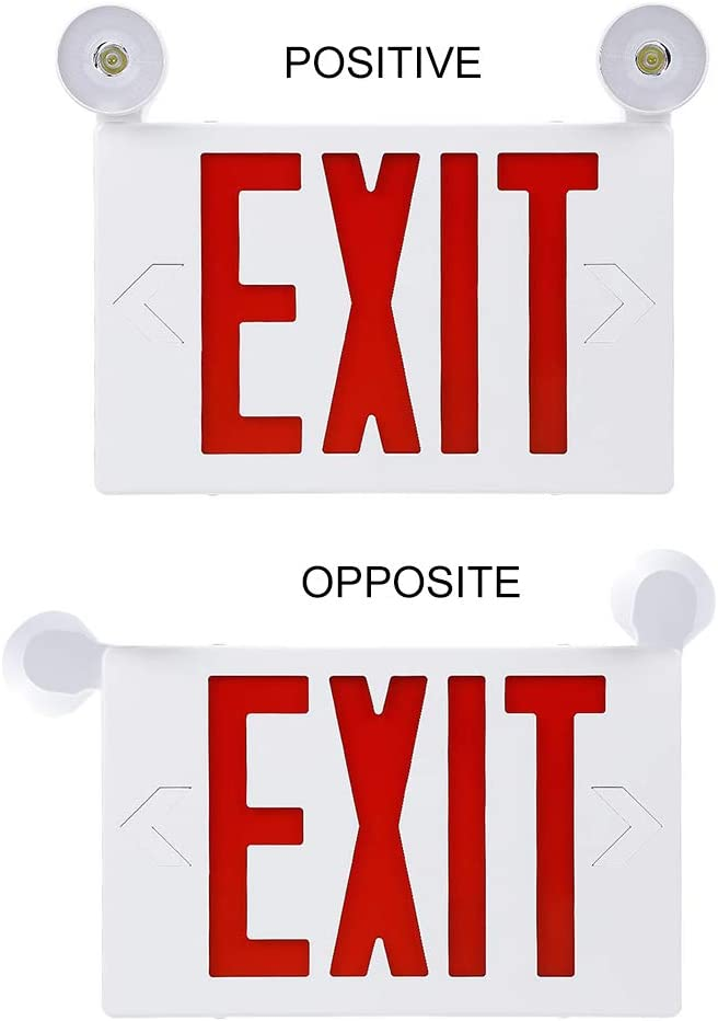 Two LED Flood Lights 2 Pack -UL Listed -LFI Lights- Double Sided LED Emergency EXIT Sign Backup Battery Fire Resistant US Standard Red Letter Emergency Exit Lighting Commercial Grade