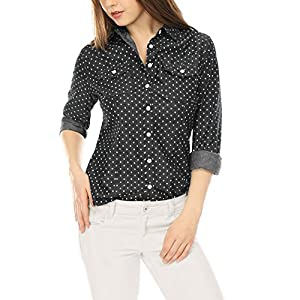 Allegra K Women's Pointed Collar Chest Pockets Button Down Dots Shirt
