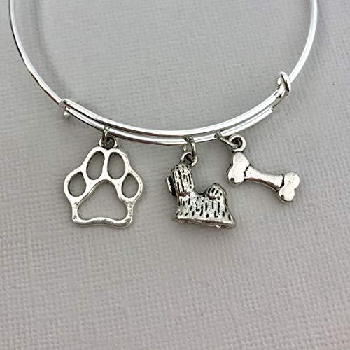 Shih Tzu Jewelry for Women, Dog Mom gifts Bracelet paw print bone (Shih Bone Tzu)