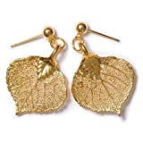 Real Aspen Lace Leaf Post Earrings - 24k Gold Dipped