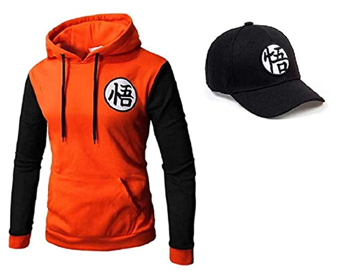 PINNACLE APPAREL Dragon Ball Z Men Orange Anime 3D Hoodie with Free  Snapback Hat (M 41174986f76c