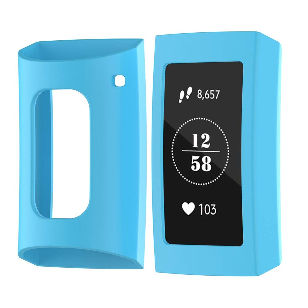 Case Compatible for Fitbit Charge 3 Watch,Full Cover Slim Soft TPU Protective Bumper Case Cover (Sky Blue)